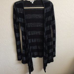 Caché Black and Gray Striped Open Cardigan Size S